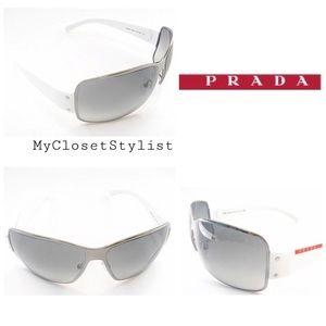 b90487214d68 PRADA Authentic Gunmetal NEW Sunglasses sport logo